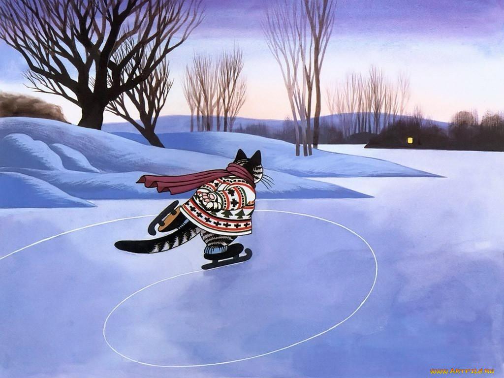 Кошки на коньках картинки